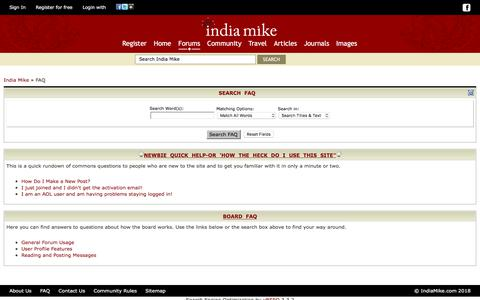 Screenshot of FAQ Page indiamike.com - India Travel Forum | IndiaMike.com - FAQ - captured Sept. 21, 2018