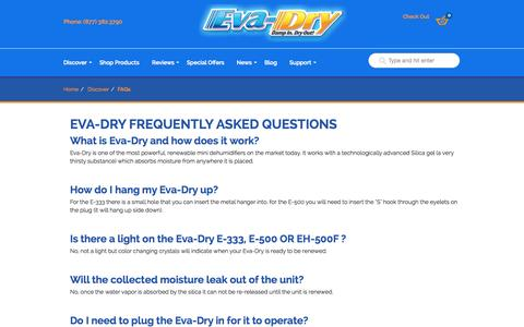 Screenshot of FAQ Page eva-dry.com - Frequently Asked Questions « Mini Dehumidifiers « Eva-Dry - captured Sept. 23, 2014