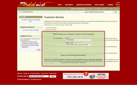 Screenshot of Support Page myhalalmeat.com - Customer Service - captured April 10, 2017