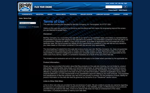Screenshot of Terms Page belray.com - Terms of Use | Bel-Ray Company, Inc - captured Sept. 24, 2014