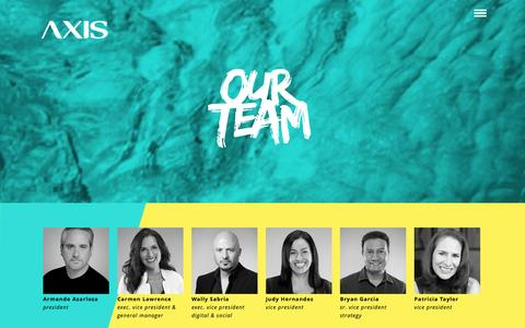 Screenshot of Team Page theaxisagency.com - Axis: One. Culture. - captured Jan. 11, 2016