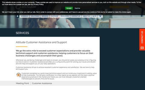 Screenshot of Services Page Support Page altitude.com - Altitude Customer Assistance | Support - Altitude.com | EN Altitude - captured Sept. 2, 2016