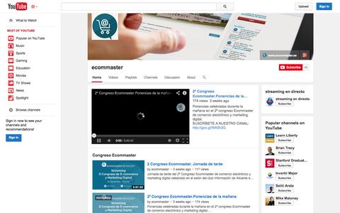 Screenshot of YouTube Page youtube.com - ecommaster  - YouTube - captured Oct. 23, 2014