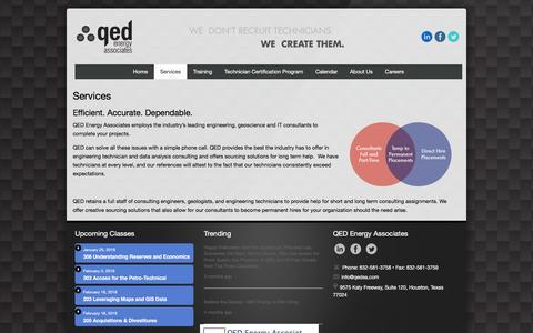 Screenshot of Services Page qedea.com - Services   QED Energy Associates - captured Jan. 23, 2016