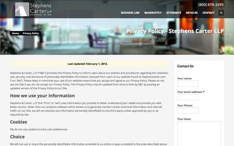 Screenshot of Privacy Page stephenscarter.com - Privacy Policy | Stephens Carter LLP - captured Oct. 7, 2014