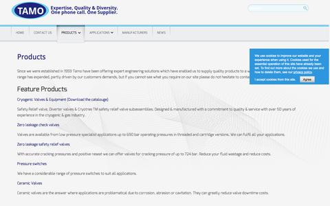 Screenshot of Products Page tamo.co.uk - Products | TAMO LTD - captured Oct. 7, 2014