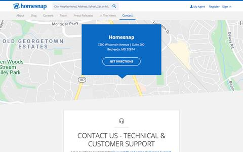 Screenshot of Contact Page homesnap.com - Contact Us - Technical & Customer Support - Homesnap - captured Feb. 11, 2020