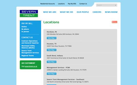Screenshot of Locations Page severntrentservices.com - Locations - Severn Trent - North America - captured Feb. 26, 2016