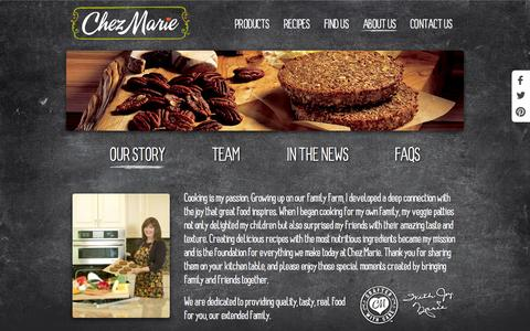 Screenshot of About Page chezmarie.com - About Us - Chez Marie - captured Oct. 2, 2014