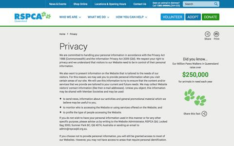 Screenshot of Privacy Page rspcaqld.org.au - RSPCA Queensland | Privacy - captured Nov. 4, 2014