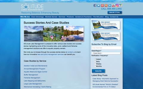 Screenshot of Case Studies Page solitudelakemanagement.com - Lake And Pond Management Success Stories And Case Studies - captured July 26, 2018