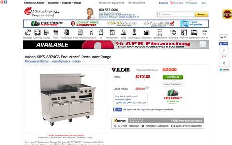 Screenshot of Landing Page ckitchen.com - Vulcan 60SS-6B24GB Endurance Restaurant Range - captured Oct. 27, 2014
