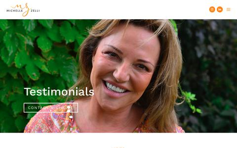 Screenshot of Testimonials Page michellezelli.com - Testimonials - Michelle Zelli - captured Oct. 18, 2018