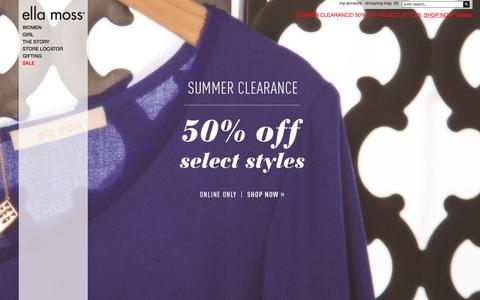 Screenshot of Home Page ellamoss.com - Ella Moss® | Modern Bohemian Clothing for Women & Girls - captured July 3, 2015