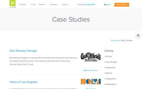 Screenshot of Case Studies Page jive.com - Case Studies - Jive Resource Center - captured Oct. 9, 2019