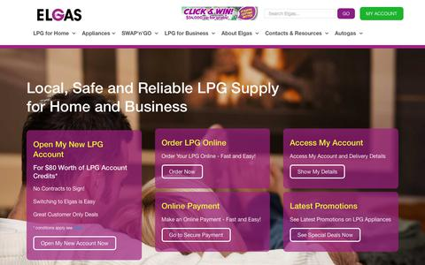 Screenshot of Home Page elgas.com.au - Welcome to Elgas LPG Gas - captured Sept. 27, 2018
