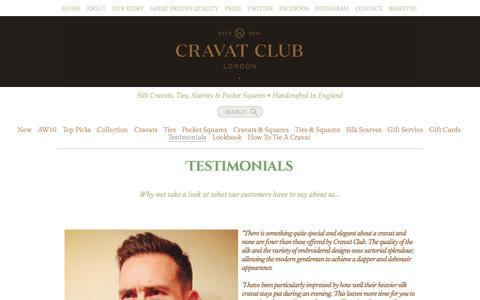 Screenshot of Testimonials Page cravat-club.com - Testimonials - Cravat Club - captured Oct. 10, 2016