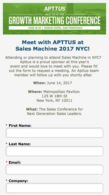 Meet with Apttus at Sales Machine 2017 in NYC