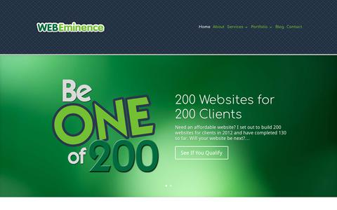 Screenshot of Home Page webeminence.com - Affordable Website Design & PPC Management for Small Business - captured Sept. 20, 2018