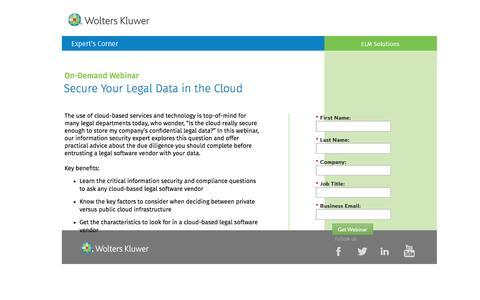 Screenshot of Landing Page datacert.com - Webinar: Secure Your Legal Data in the Cloud - captured Aug. 17, 2016