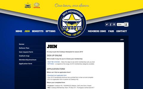 Screenshot of Signup Page cowboys.com.au - North Queensland Cowboys Membership Portal > Join - captured Sept. 19, 2014