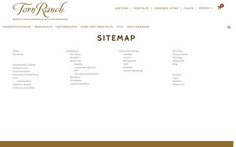 Screenshot of Site Map Page tornranch.com - Torn Ranch Distinctive Foods and Gifts -  Sitemap - captured Aug. 19, 2016