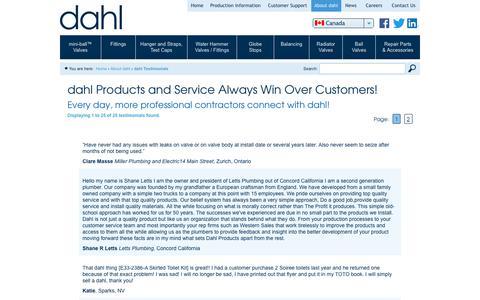 Screenshot of Testimonials Page dahlvalve.com - dahl Testimonials   Dahl Valve Limited - captured Oct. 25, 2018