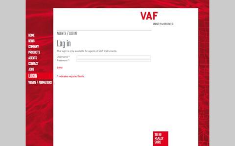 Screenshot of Login Page vaf.nl - VAF Instruments - Login - captured Oct. 9, 2014