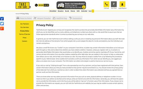 Screenshot of Privacy Page taxiforsure.com - Taxi or Radio Cabs Book Online in Ahmedabad, Bangalore, Baroda, Chennai, Delhi, Hyderabad & Surat & Car Rentals from TaxiforSure - captured Sept. 17, 2014