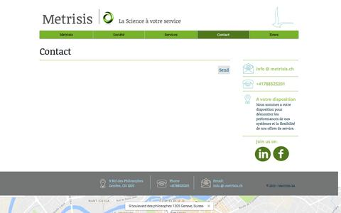Screenshot of Contact Page metrisis.ch - Contact Metrisis - captured Nov. 17, 2016