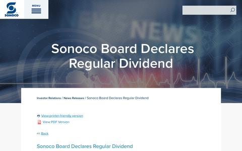 Screenshot of Press Page sonoco.com - Sonoco Board Declares Regular Dividend | Sonoco - captured Nov. 5, 2019
