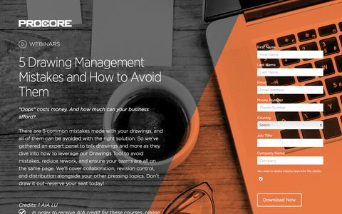 Screenshot of Landing Page procore.com - 5 Drawing Management Mistakes and How to Avoid Them - captured Aug. 11, 2016