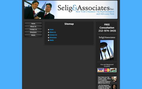Screenshot of Site Map Page selignyc.com - Tax Attorney | IRS Attorney | New York City - captured Oct. 27, 2014