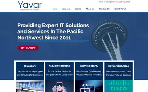 Screenshot of Home Page yavarllc.com - IT Services and Solutions | Seattle | Yavar, LLC - captured July 27, 2018