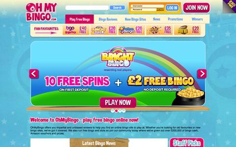 Screenshot of Home Page ohmybingo.com - Play Free Bingo Online | Bingo Sites + Bingo Offers | OhMyBingo - captured Nov. 5, 2015