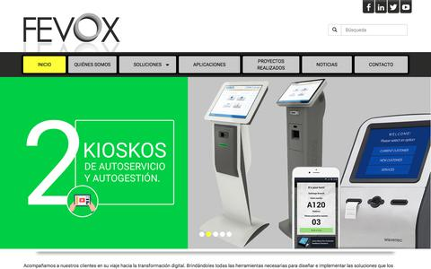 Screenshot of Home Page fevox.co - Fevox | Sistemas Inteligentes - captured Oct. 13, 2017