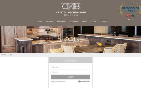 Screenshot of Login Page crystalkitchen.com - Login | Crystal Kitchen + Bath - captured Sept. 30, 2018