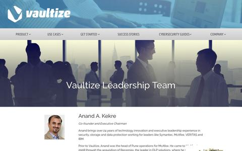 Screenshot of Team Page vaultize.com - Meet Vaultize's Team Of Secure File Sharing Experts - captured July 13, 2018