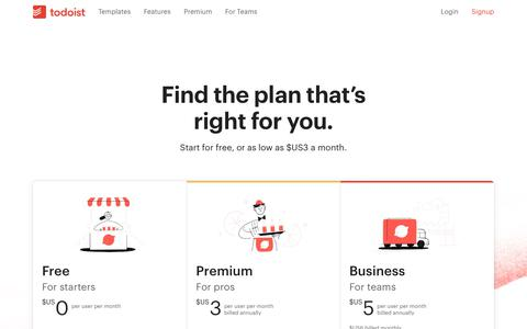 Screenshot of Pricing Page todoist.com - Pricing | Todoist - captured Jan. 29, 2020