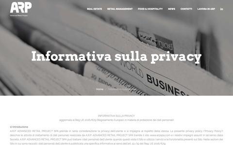 Screenshot of Privacy Page arpspa.com - Informativa sulla privacy - A.R.P Advanced Retail Project - captured Nov. 12, 2018