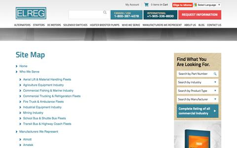 Screenshot of Site Map Page elreg.com - Site Map - Elreg - captured July 10, 2017