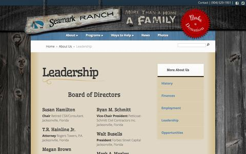 Screenshot of Team Page seamarkranch.com - Seamark Ranch Leadership Team - captured Sept. 30, 2014