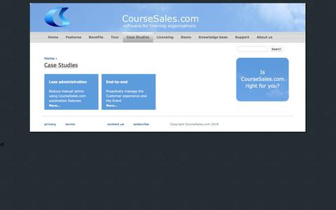 Screenshot of Case Studies Page coursesales.com - Case Studies | CourseSales.com - captured July 22, 2018