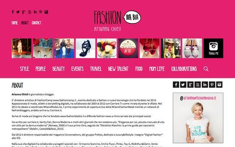 Screenshot of About Page fashionblabla.it - About | FashionBlaBla - captured Sept. 30, 2014