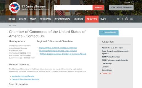 Screenshot of Contact Page uschamber.com - Chamber of Commerce of the United States of America - Contact Us | U.S. Chamber of Commerce - captured Sept. 19, 2014