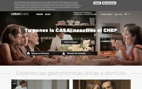 Screenshot of Home Page urbanchefs.es - Experiencias gastronómicas en casa | UrbanChefs - captured Sept. 19, 2015
