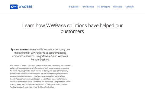 Use Case Summary Page —WWPass Corporation