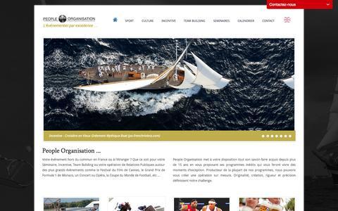 Screenshot of Home Page peopleorg.com - People Organisation - Agence événementielle, organisation d'événements de Sport Culture Artistique et Incentive Evénementiel - captured Sept. 19, 2014
