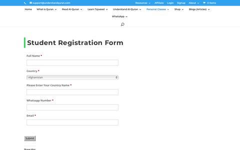 Screenshot of Trial Page understandquran.com - Student Registration Form - Understand Al-Qur'an Academy - captured Nov. 12, 2019