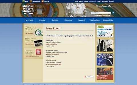Screenshot of Press Page mohistory.org - Press Room | Missouri History Museum - captured Sept. 19, 2014